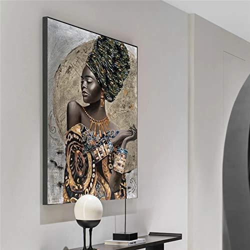 mocarrie Arte de graffiti de mujer negra africana carteles e impresiones abstracta chica africana lienzo pinturas en la pared arte cuadros decoración de pared