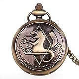 ZMKW Antiguo Fullmetal Alchemist Edward Elric Cosplay Reloj de Bolsillo de Cuarzo con Colgante, Collar, Hombres, Mujeres, Reloj, Bronce