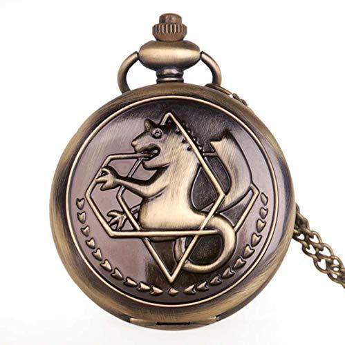 ZMKW Orologio da Tasca al Quarzo Cosplay Antico Fullmetal Alchemist Edward Elric con Collana Pendente Orologio da Donna, Bronzo