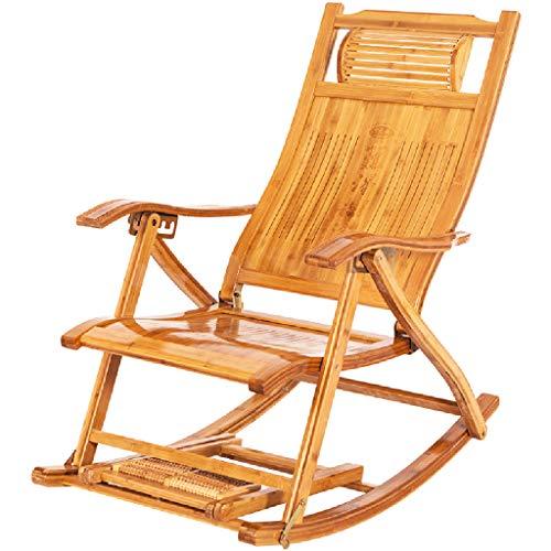 Sedia a Dondolo Home Balcone Chaise Longue Poltrona a Dondolo Sedia da Pranzo Pieghevole in Legno di bambù Reclinabile per Soggiorno, Patio e Terrazza
