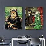 Imagen abstracta de lienzo de arte personaje de imitación de gato gordo imagen de pintura al óleo de arte animal para póster de sala de estar y decoración del hogar impresa pintura sin marco 40X50 cm