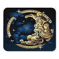 滑り止めのラバーベースのマウスパッド美しい黒の占星術月の形をした老人の天文学天体ゲームコンピュータ用マウスパッドノートパソコン、7.9x9.8インチ