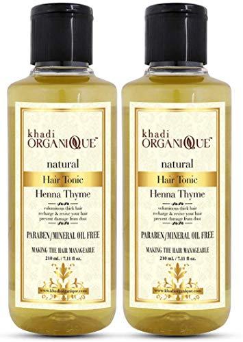 Glamorous Hub Khadi Organique Henna Thyme Hair Oil Paquete de 2 (el paquete puede variar)