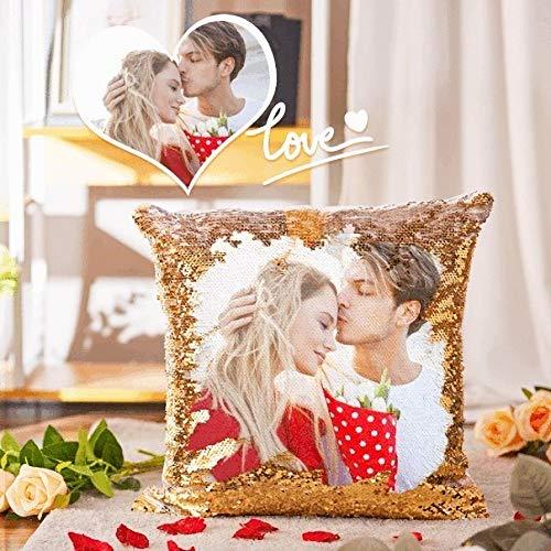 Cojín Personalizada con Foto 40 * 40cm Almohada Tejido Tacto algodón Regalo para Mujer Amiga Mama Vario Tamano Tejido Tacto algodón