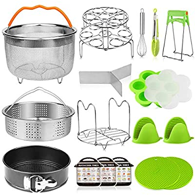 Aiduy 18 pieces Pressure Cooker Accessories Set Compatible with Instant Pot 6,8Qt - 2 Steamer Baskets, Springform Pan, Stackable Egg Steamer Rack, Egg Beater, 2 Silicone Trivet Mats