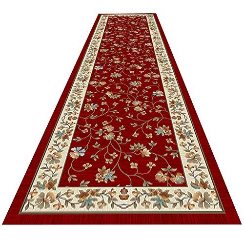 GuoWei Rosso Scuro Tradizionale Lungo Tappeto Floreale Orientale Antiscivolo Mucchio Basso Morbido Corridoio Ingresso Soggiorno Tappeto, Supporto Personalizzare (Size : 0.8x6m)