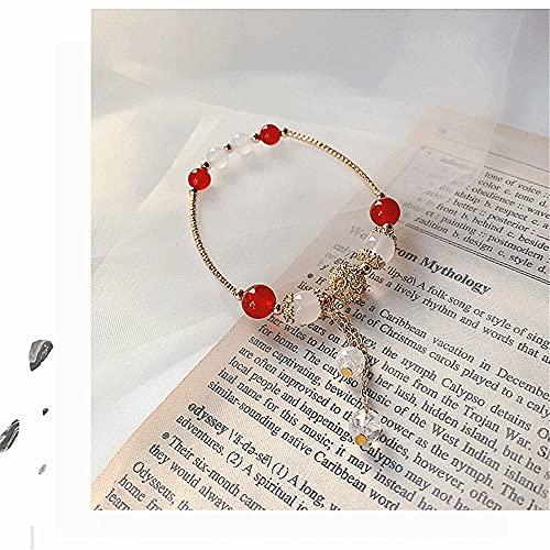 CLEARNICE Vintage Piedra Natural Pulsera brazaletes Mujer ágata Cuentas Borla Colgante Brazalete Pulsera Cristal Accesorios de joyería Regalo