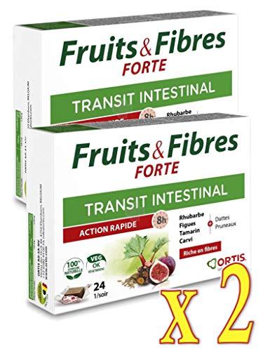 ORTIS Fruits & Fibres Forte Tránsito Intestinal – Acción rápida de 8 h – Complemento alimenticio, 24 cubos – Lote de 2 cajas (2 unidades)