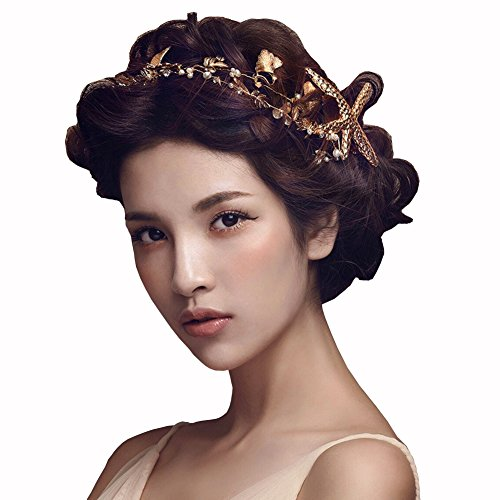 Scala The Bridal Hair Accessories Handmade Headband Starfish Hairpin Bride Handmade Tiaras Soft Pearl Hair Jewelry (Gold)
