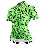 Maillot de ciclismo para mujer, manga corta y camiseta reflectante con 3 bolsillos S-3XL - - Large