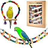 French KOKO Small Bird Toy 2 Pack Gift Set (Ladder + Hammock Swing Bell) Parrot Toy, Hanging Bell, Pet Bird Cage, Parakeets, Pet Bird, Training Conure, Cockatiel, Mynah, Love Birds Cage Accessories