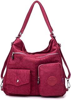 Nylon Casual Backpack Lightweight Multi-pocket Shoulder Bag Large Capacity Travel Bag (Color : Wine Red, Size : 341133cm)