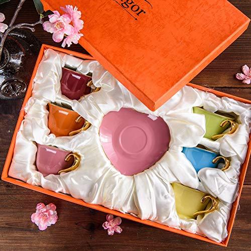 Artvigor 6 Juegos de Tazas de Café/Té de Porcelana Tazas de Cerámica,...