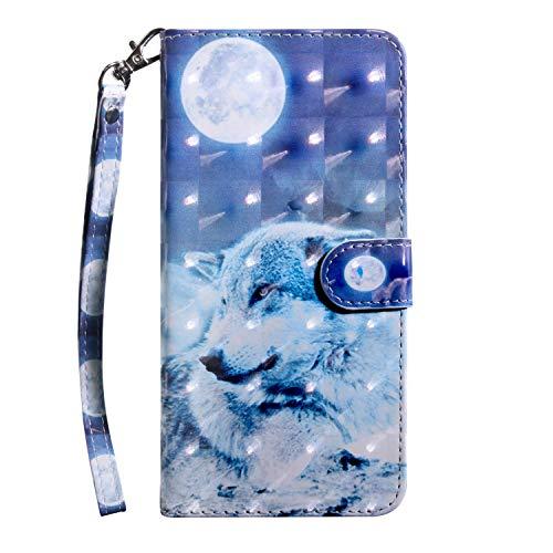 vingarshern Hülle für LG K5 Schutzhülle Tasche Etui Klappbares Magnetverschluss Flip Hülle Lederhülle Handytasche LG K5 Hülle Leder Brieftasche(Wolf-1) MEHRWEG