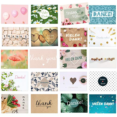 20 moderne Dankeskarten, als Dankeschön für kleine und große Dinge: Vielseitige und individuelle Motive als Danksagungskarten für jeden Anlass! (DIN A6)