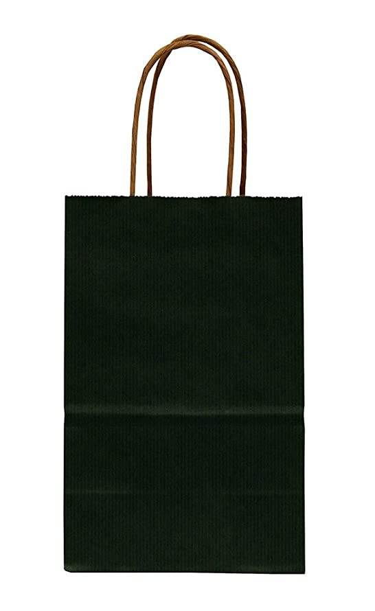 Pinstripe Shopper Bags - Forest Green - 100 Count 5.25x3.5x8.25 inch