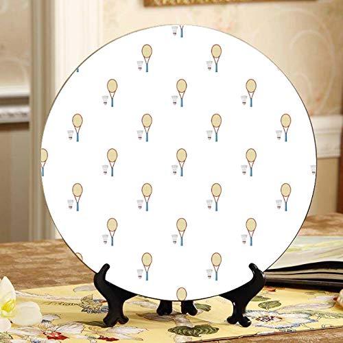 Placas de raqueta de bádminton y raqueta de tenis Placa decorativa de exhibición Placa de oscilación para el hogar de cerámica con soporte de exhibición Decoración Placas decorativas para el hogar