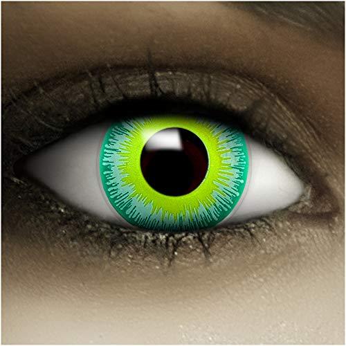 Farbige Kontaktlinsen ohne Stärke Alien + Kunstblut Kapseln + Kontaktlinsenbehälter, weich ohne Sehstaerke in grün, 1 Paar Linsen (2 Stück)