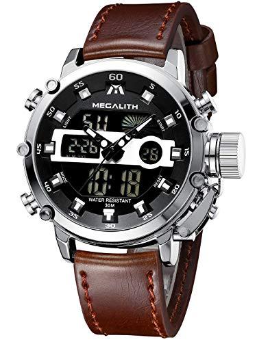 MEGALITH Relojes Hombre Digitales Militar Relojes Grandes LED Reloj de Pulsera Analogico Digital Deportivo Relojes de Hombre Cuero Impermeable Electrónico Cronometro Calendario - Marrón Plata
