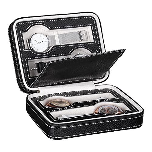 Caja de reloj con cremallera organizador de reloj portátil de viaje colección de vitrina de reloj de cuero PU de fibra de carbono para mujeres hombres regalo de Navidad color negro