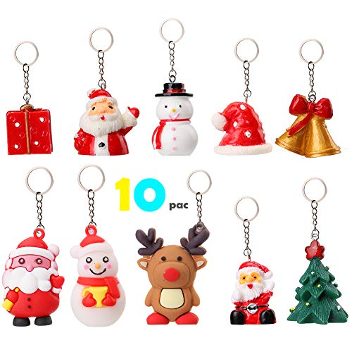 OOTSR Santa Claus Cartoon Keychains [10 pcs], Portable Cute Snowman Giftbox Hat Jingling Bell Tree Elk Keychain Key Pendant Creative Key Ring Small Gift For Christmas,Made of PVC or Soft Silicone