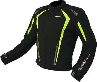R-TECH Chaqueta de motociclista Marshal Chaqueta de moto textil para hombre (CE Aprobado) (Negro/Amarillo, XL)