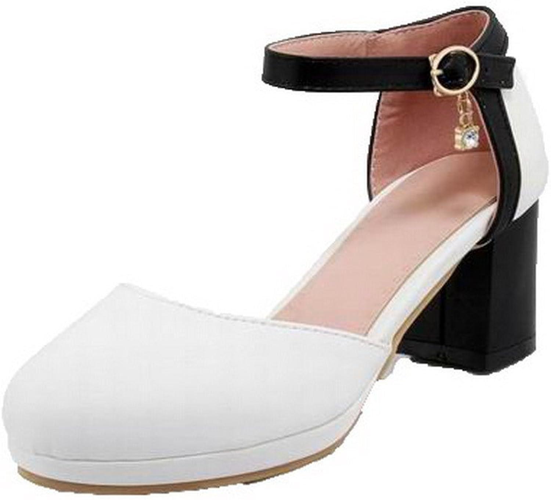 WeenFashion Women's Buckle Kitten-Heels Pu Assorted color Closed-Toe Sandals, AMGLX009541