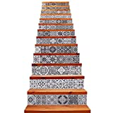 TUOKING 13 Strips Removable Stair Decals, Peel and Stick Vinyl Staircase Stickers, 39.37' L x 7.08' W for 13 Steps, Faded Ceramic Tiles Pattern