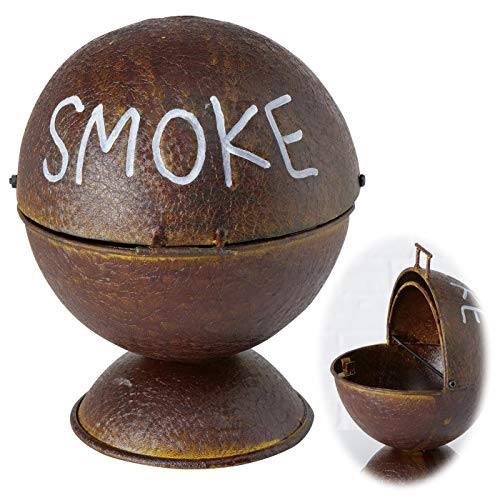LS-LebenStil Sturmaschenbecher Smoke Rost Braun 15cm Stand-Aschenbecher BBQ-Kugelgrill Ashtray