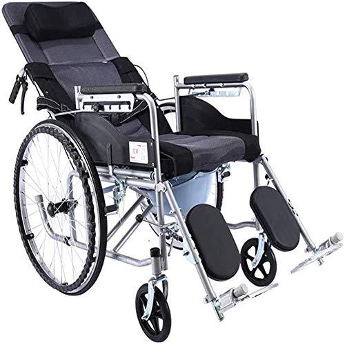 QZC Ligera Silla de Ruedas Silla de Ruedas Ajustable con 6 Posiciones Ajustable reclinable Plegable Respaldo Brazo Respirable cómodo y Transpirable diseño para Ancianos discapacitados