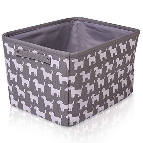 Graufarbener Hunde Leinen-Aufbewahrungskorb - qualitativ hochwertiger Korb mit weiß Hunde für die Aufbewahrung von Haushaltsartikeln. 40cm x 30cm x 25cm