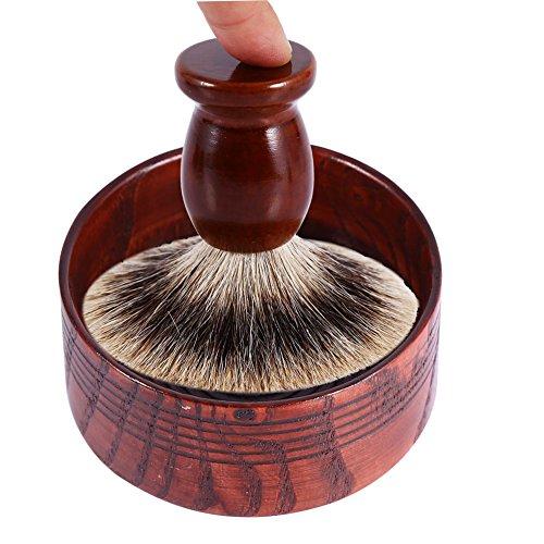 Haokaini Outil de Tasse de Tasse de Bol de Savon à Raser en Bois Contenant de Tasse de Rasage Naturel pour Hommes