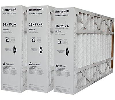 "Genuine Honeywell 16 x 25 Part # FC100A1029 MERV 11 Size 15 7/8"" x 24 3/4"" x 4 3/8"" Case of 3"