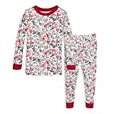 Burt's Bees Baby Baby Boy's Pajamas, Tee and Pant 2-Piece PJ Set, 100% Organic Cotton, Holiday Carols, 4 Toddler
