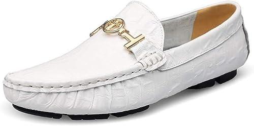 ZHRUI Slip on chaussures for Hommes Conduite Confortable Sote Sole Non Slip Grande Taille Horsebit Loafters (Couleuré   Blanc, Taille   EU 41)