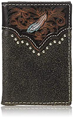 Ariat Men's Painted Feather Nailhead Tri-fold Wallet, tan