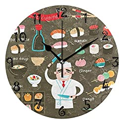 LDIY Art Chef Cooking Sushi Japan Food Round Wall Clock Circular Plate Silent Non Ticking Clocks for Kitchen Home Office School Decor Kid Boys Girls