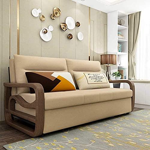 N/Z Home Equipment Ausziehbare Schlafsofa Massivholz Faltcouch mit Kreativität Armlehne Multifunktionssofa Cabrio Bett für Wohnung Wohnzimmer Schlafzimmer Dekoration Möbel gelb