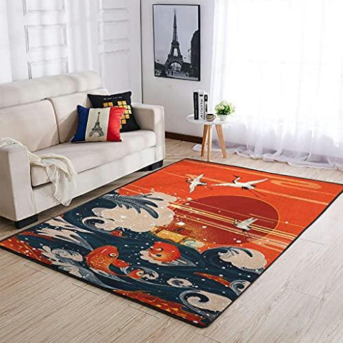 Tobgreatey Alfombra japonesa de Area Rugs Koi, peces, ondas, grúas solares, duradera, para dormitorio, color blanco, 122 x 183 cm