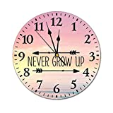 Yilooom Never Grow Up 10 Inch Round Wall Clock Battery Operated Non Ticking with Arabic Numerals, Modern Wall Decor