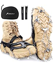 SHEEFLY Crampons Ice Cleats Traction,19 Spikes Snow Grips Ice Grippers Traction Anti-Slip Stainless Steel Spikes for Shoes and Boot,Microspikes for Running,Hiking,Climbing,Fishing,Running