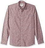 Marca Amazon – Goodthreads – Camisa de manga larga de corte estándar de cambray para hombre, diseño de lunares, Morado (Burgundy Navy Dot), US L (EU L)