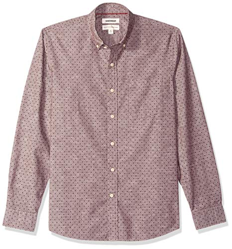 Amazon-Marke: Goodthreads Herrenhemd, langärmelig, normale Passform, Chambray, gepunktet, Violett (Burgundy Navy Dot), US M (EU M)