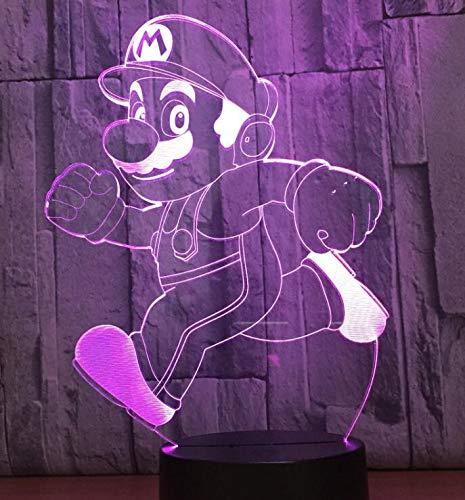 Anime Cartoon Charakter niedlich lustige Mario Maus läuft gelben Mann Figur 3D LED Tischlampe Acryl Illusion Nachtlichter Kinder Geschenk
