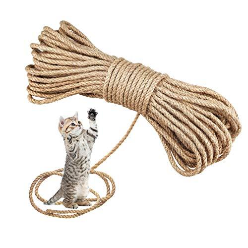 Yue Cuerda de sisal para gatos, 6 mm x 50 m, fibras naturales, cuerda de yute para reparación,cuerda de sisal trenzada