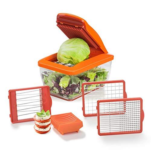 Genius Nicer Dicer Chef S - Juego de 7 piezas en color naranja con cortador de verduras de tomate – Corte fácil y rápido de verduras – Accesorio rallador de verduras – Cortador de verduras