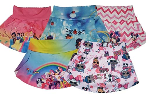 Pacote 05 Shorts Shortinho Saia Infantil Personagens (8)