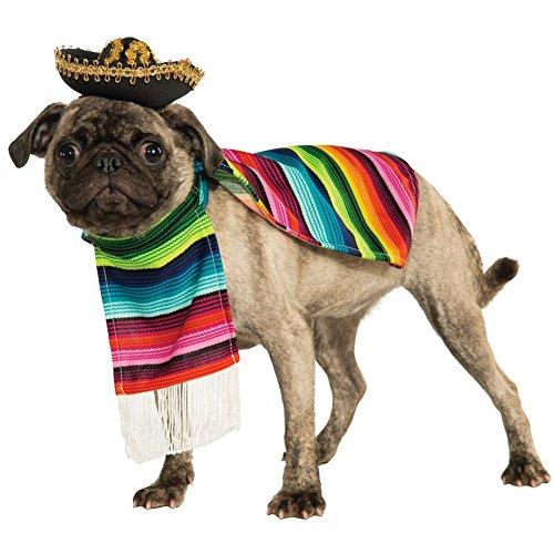 Déguisement sarape mexicain avec sombrero pour animal domestique