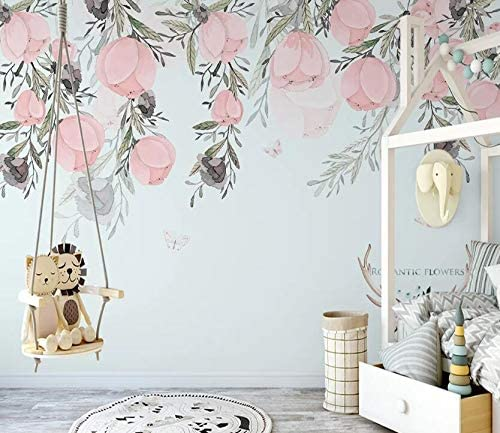 AJ WALLPAPER 3D Pink Flowers WC191 Print Wall Deco W Decal 休日 Paper 公式通販