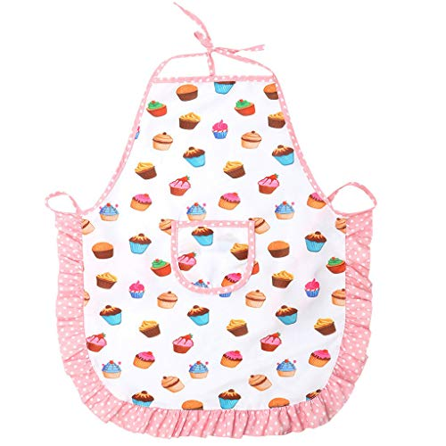 jieGorge Kids Apron and Chef Hat Set, Kids Chef Costume for Boys Girls Baking Gardening, Toys and Hobbies (White)